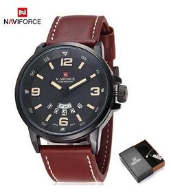 Relógio Masculino Naviforce Pulseira De Couro + Caixinha!
