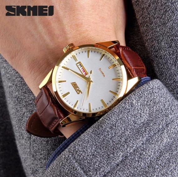 Relógio Skmei Dourado Com Pulseira De Couro Marrom