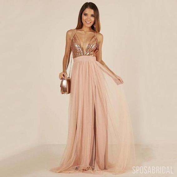 Vestido Rosa Largo De Noche De 15 De Fiesta