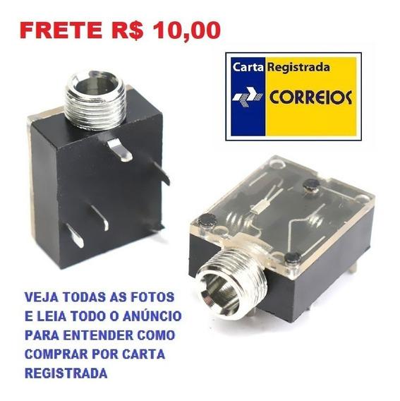 Kit 5 Conector Jack P2 Fêmea Stereo Com Rosca Frete R$ 10,00