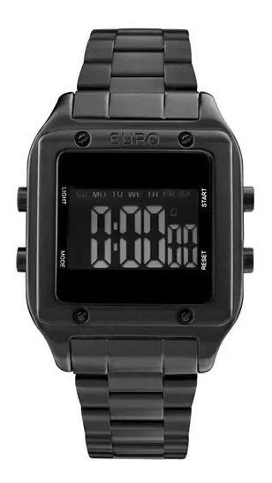 Relógio Euro Feminino Preto Quadrado Digital Eug2510ac/4p