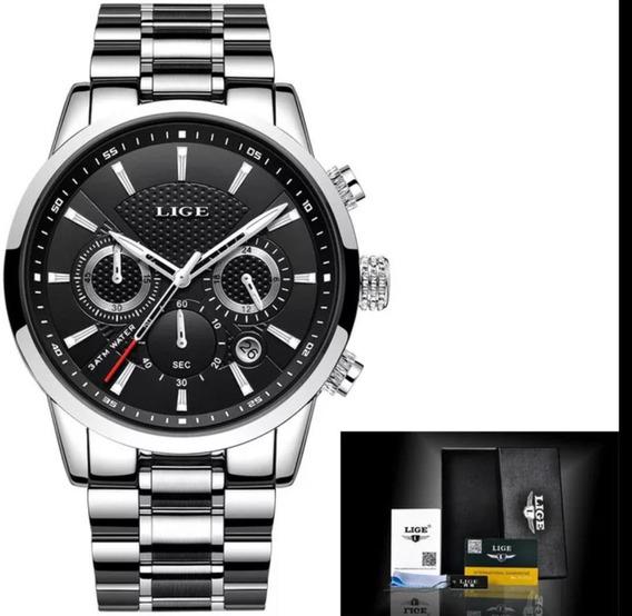 Relógio Masculino Prata Luxo Live Lg9866c Promoção