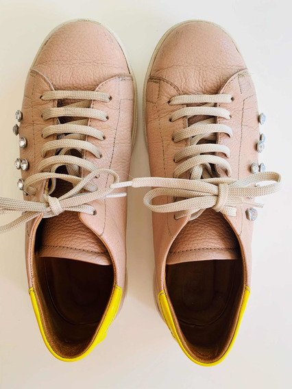 Zapatillas De Cuero Con Strass Olivetta 36