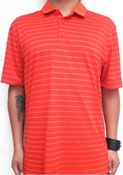 Polo Nike Golf Icon Stripe Shirt Standard Fit Orange Red