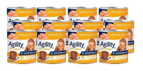 Imagen 1 de 6 de Agility Cats En Lata Sabor Pollo X 340 Gr Pack X 12 Unidades
