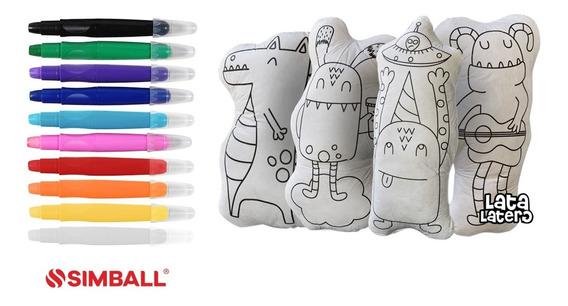 Kit Mini Amigos Peluches Pintables + 10 Crayones Gel Simball