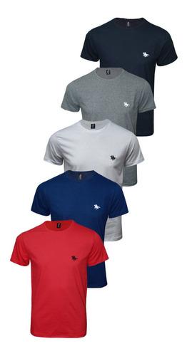 Imagem 1 de 10 de Kit Blusa Camiseta Masculina Com 5 Cores Original Polo Rg518