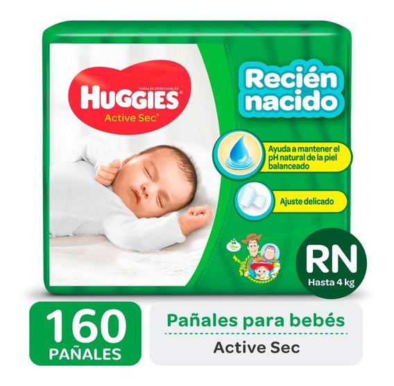 Pañales Huggies Active Sec P Y Recien Nacido Pack X 4