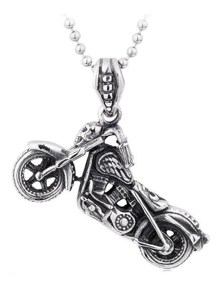 Dije Calavera Esqueleto Moto Chopper Acero Hombre Collar D12
