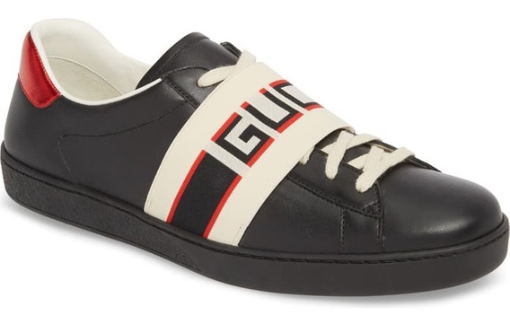 Tenis Gucci Stripe Leather Black