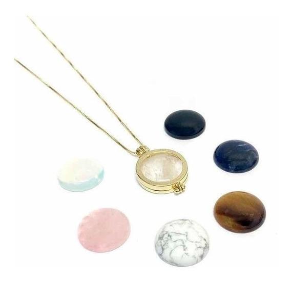 Colar Cápsula Secret Coins Semijoia Pedras Naturais Ban Ouro