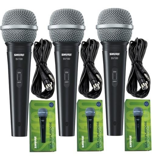 Kit 3 Microfones Shure Sv100 Com 3 Cabos 4,57m Xlr(f) X P10