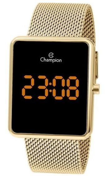 Relógio Feminino Dourado Champion Digital Quadrado Ch40080j