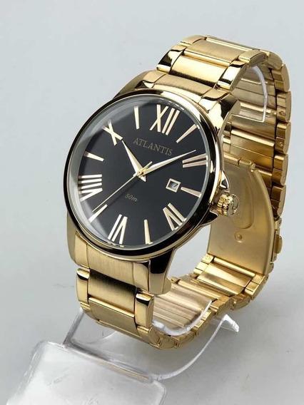 Relógio Masculino Atlantis Dourado Romano Social Original