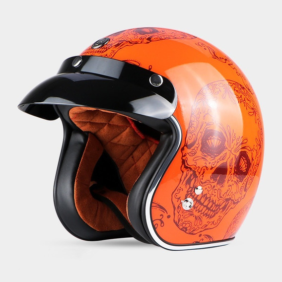 Capacete Moto Old School Vintage Skull: Aberto + Viseira