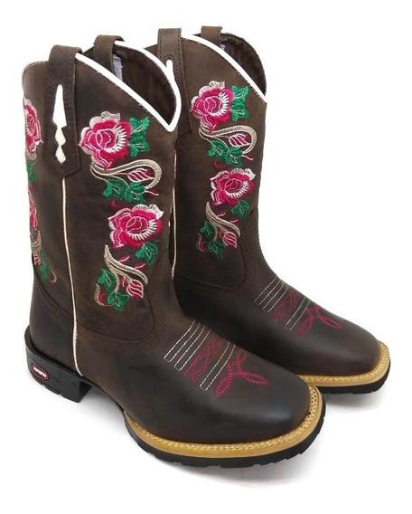 Bota Botina Feminina Country + Top Texana Couro 7estrivos