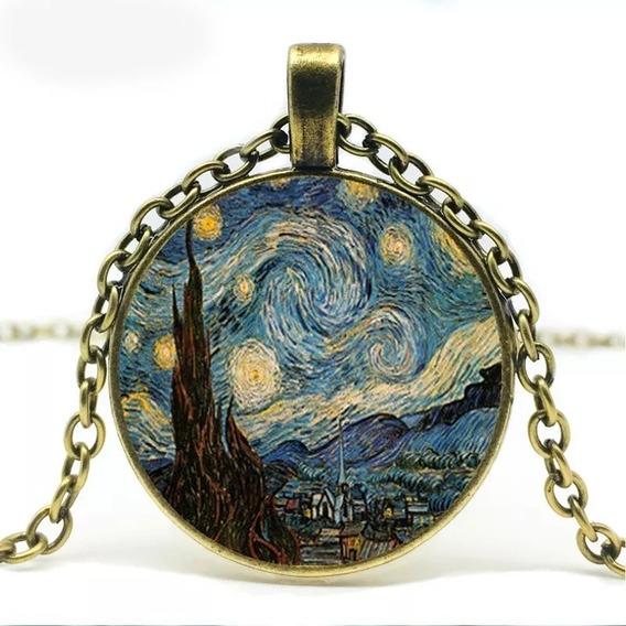 Colar Van Gogh Com Pingente Em Arte Pinturas Noite Estrelada