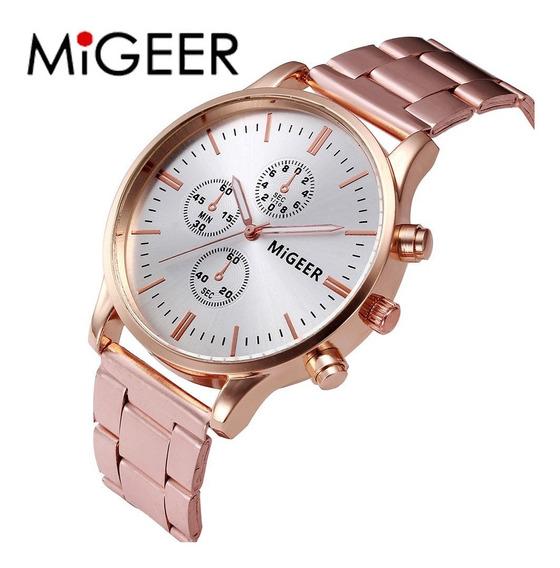 Relógio Migeer G2004 Masculino Dourado Social Frete Grátis