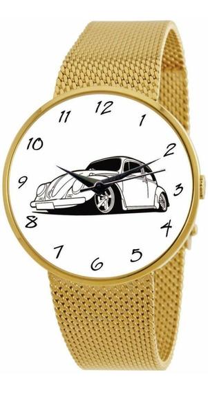 Relógio De Pulso Personalizado Feminino Vw Fusca Dourado