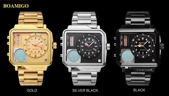 Relógio Pulso Masculino Dourado Prata Boamigo Luxo Promoção