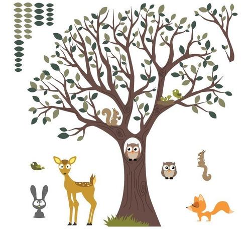 Vinilo Decorativo Árbol Infantil-i 40, Animalitos Del Bosque