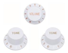 Kit Knobs Volume Tone P/ Strato Branco Dolphin - Ac0656