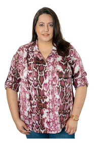 Blusa Viscose Animal Print Roupas Femininas 48 Ao 54
