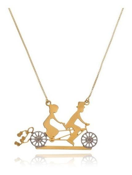Colar Casal De Bicicleta Folheado Ouro
