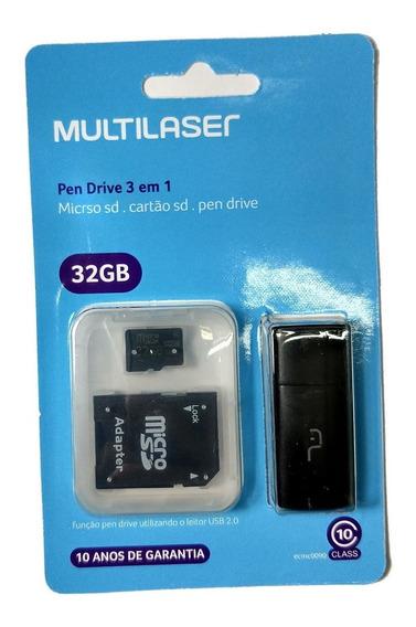 Cartão De Memória Micro Sd 32gb Multilaser Cl 10 Pendrive Nf