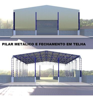 Projeto De Um Galpão De 20,00 X 30,00 De Estrutura Metálica