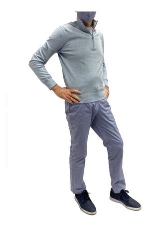 Pantalón Casual F&f Blue  + Tapaboca Bicapa Onpants