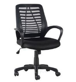 Cadeira Escritório Giratória Couro Preta Com Apoio De Braços