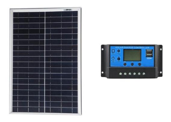 Kit Painel Solar De 20w Kript + Controlador De Carga Solar