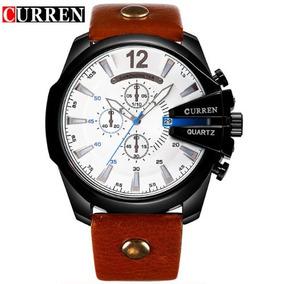 Relógio Importado Masculino Curren 8176 Preto Marrom Couro