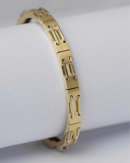 Bracelete Ouro Amarelo E Branco 18k 750