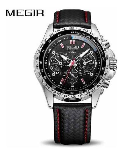 Relógio Masculino Megir 1010 Quartz Preto Pulseira De Couro
