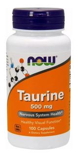 Taurina 500mg- Now Foods -100 Caps-importada Pronta Entrega