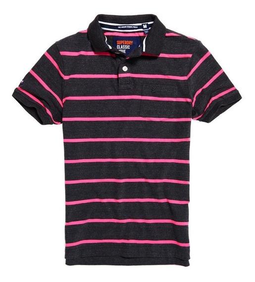 Playera Superdry Miami Pocket Polo Shirt Black Grit...