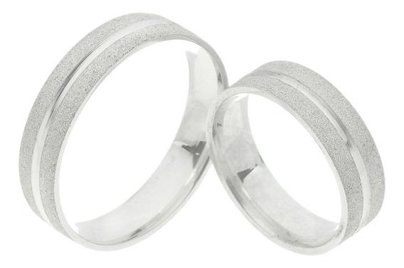 Par De Aliança Prata Diamantada Um Friso Liso Central 5mm