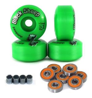 4 Roda Skate Street 51mm Black Sheep C Rolamento E Espaçador