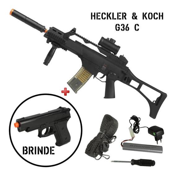 Rifle Airsoft Elétrico Toy Umarex Hk G36c Bivolt + Pt Brinde