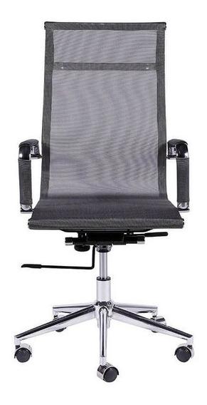Cadeira De Escritório Alta Com Tela - Cinza - Tommy Design