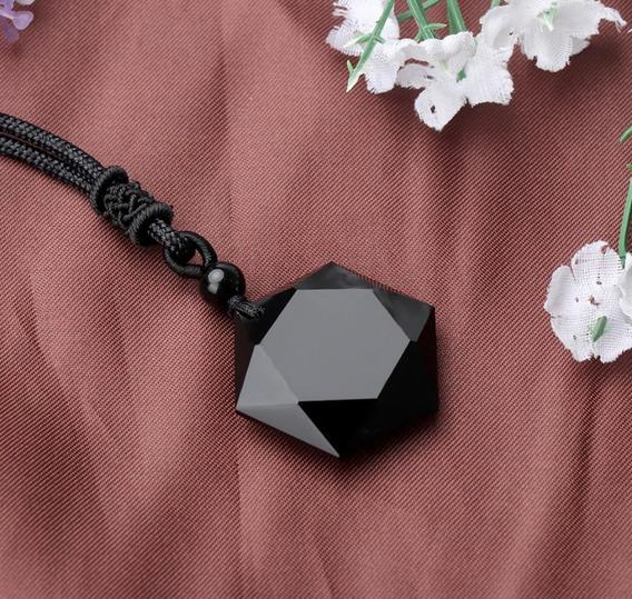 Colar Pedra Obsidiana Negra Natural Hexagrama Proteção