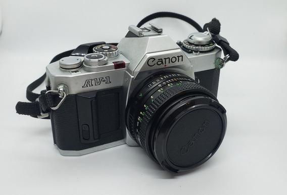 Câmera Canon Av-1+flash Speedlite 244t-reliquia Funcionando