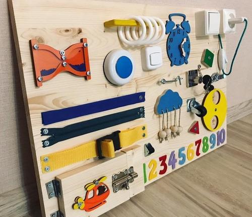 Imagen 1 de 7 de Tablero Didáctico Panel Montessori Personalizado