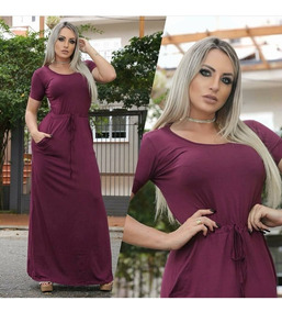 Vestido Longo Liso Formatura Festa Moda Evangélica Feminino