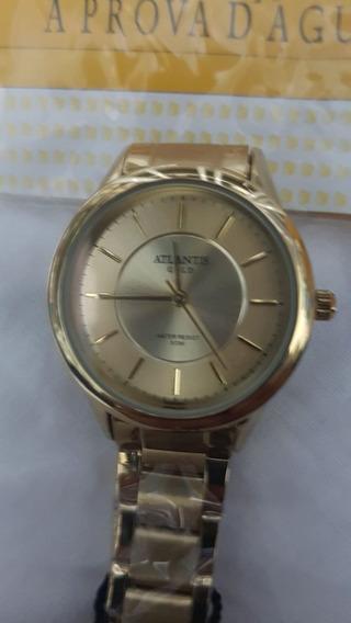 Relógio Atlantis Feminino Dourado - W3456