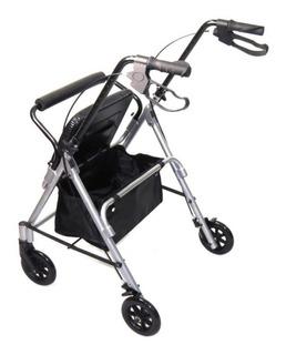 Andador Alumínio Dobrável C/ 4 Rodas Assento E Cesta Mobil