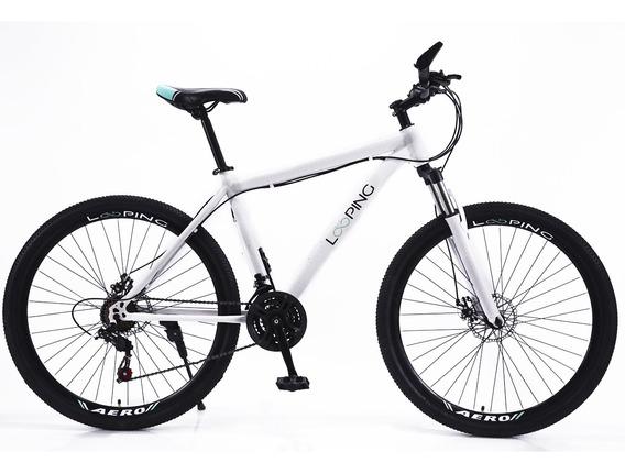 Bicicleta Aro 26 Looping Alumínio Com Amortecedor 21 Marchas
