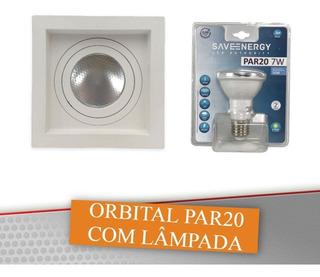 Kit 20 Spot Embutido Quadrado Rec Click Orbital Par20 Led 8w